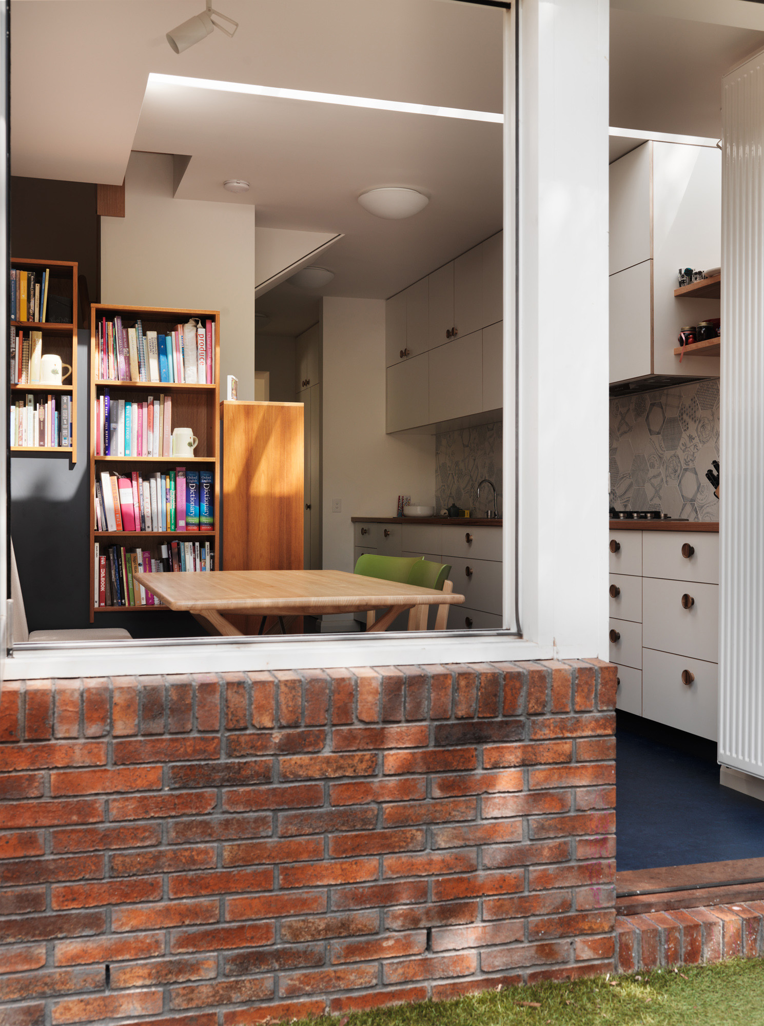 Compact family meals and kitchen area