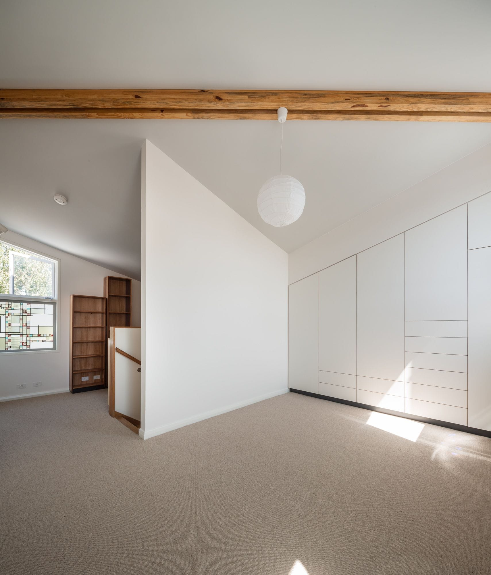 Tower bedroom integrated storage. Daylight archtecture.