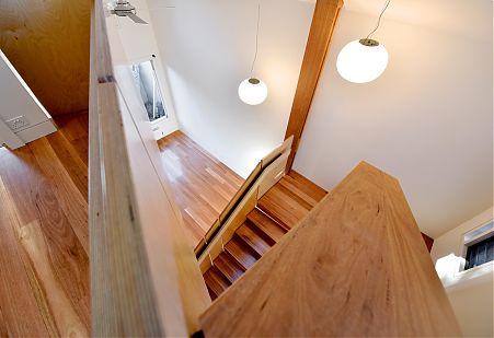 Timber stair angle view with lighting