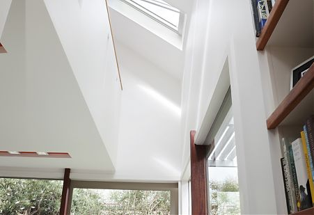 Daylight interior space with skylight.