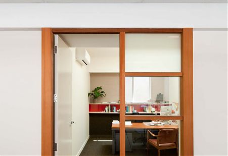Private office space timber doorway
