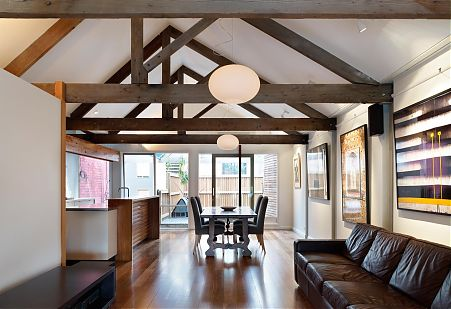 Timber exposed truss light-filled space