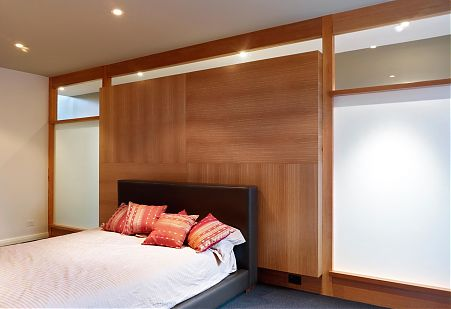 Timber wall panelling bedroom