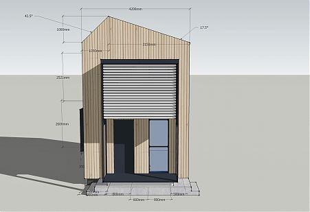 Elevation of design developed by DiMase Architects; timber; shading