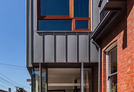 Zinc cladding on the exterior of the Roseleigh addition